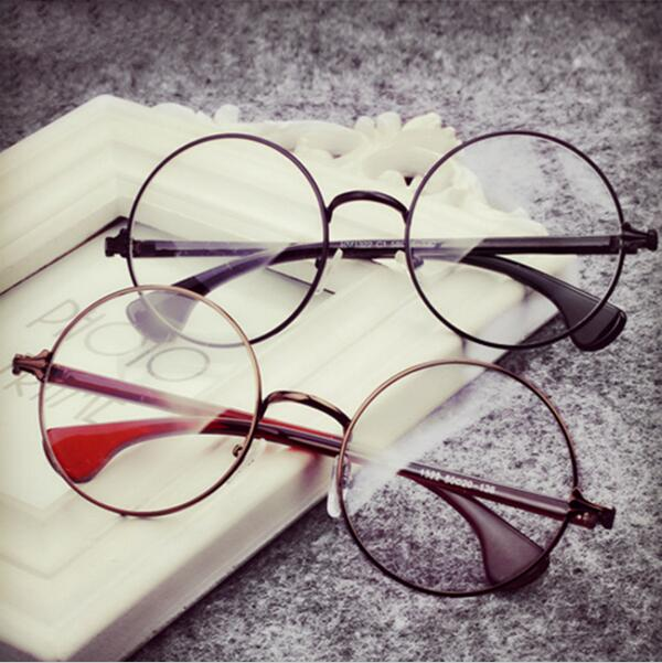 decoration plain mirror europe menwomen round retro metal eyeglasses frames korean myopia glasses frame