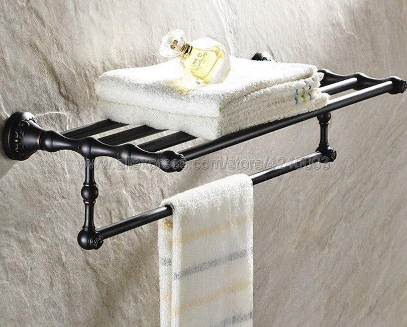 Black Oil Rubbed Brass Bath Towel Rack Bathroom Towel Holder Double Towel Shelf Bathroom Accessories Kba445 2016 high quality oil black fixed bath towel holder brass towel rack holder for hotel or home bathroom storage rack rail shelf