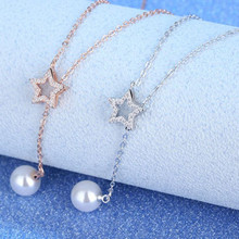 Fashion Rose Gold Lady Pearl Crystal Star Pendant Necklace For Women Jewelry Trendy Silver 925 Girls Clavicle Necklace Lady Gift exquisite zircon butterfly pendant necklace for women jewelry fashion rose gold lady necklace silver 925 accessories female gift