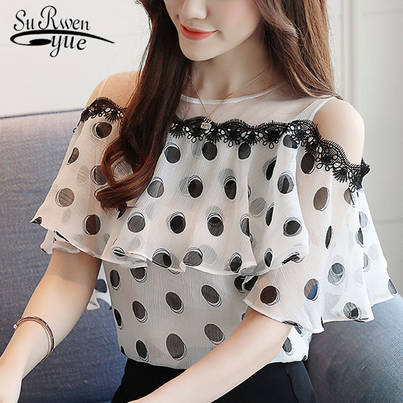 Fashion women tops and   blouses   2019 short ladies tops Wave point chiffon white   blouse     shirt   blusas feminine   blouses   0611 40