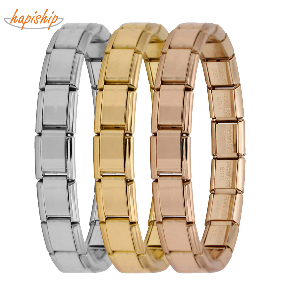 Hapiship 2018 Women's Jewelry 9mm Width Itanlian Elastic Charm Bracelet  Fashion Silver Stainless Steel Bangle ST-Silver