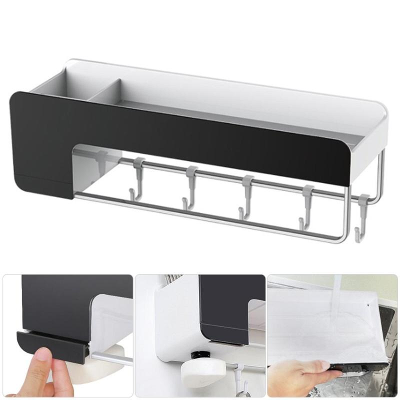 Multi use aluminum wall hanging Storage Rack Shelf Holder Kitchen Organizer Hollow Storage Rack Simple Waterproof Shelves