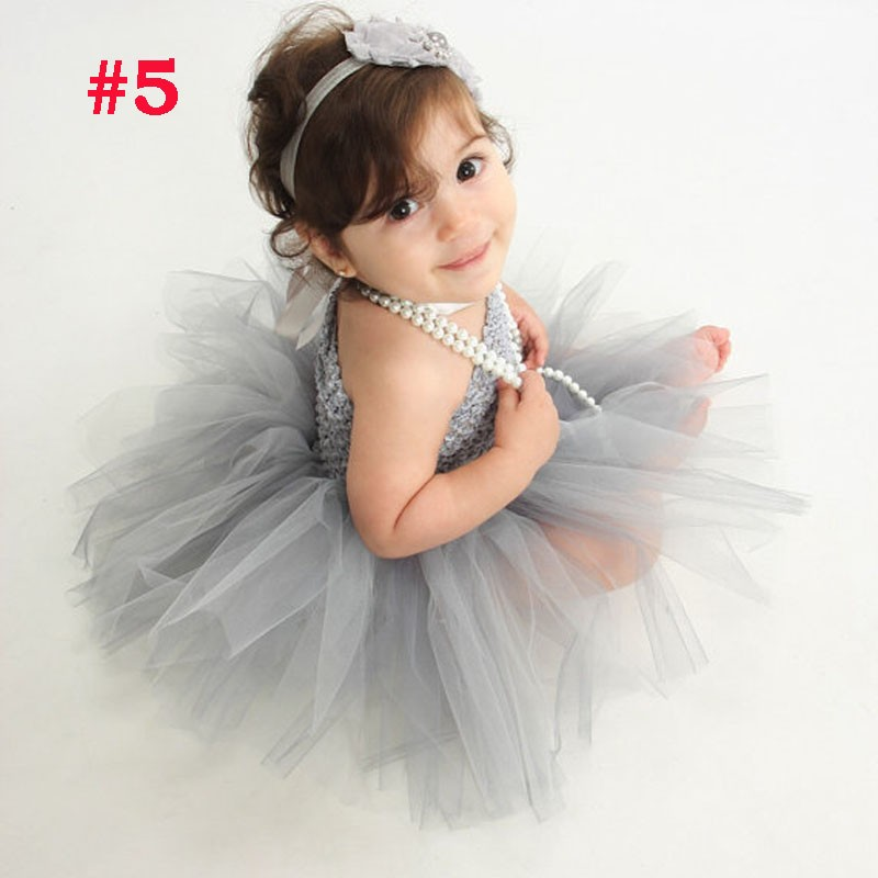 Toddler Girls Fancy Princess Tutu Dress Holiday Flower Double Layers Fluffy Baby Dress with Headband Photo Props TS044 21