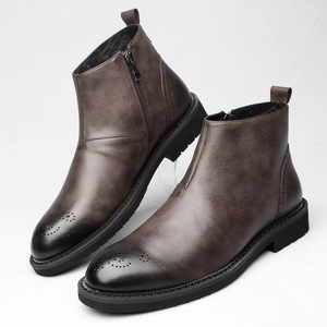Image 2 - Spring/Winter Fur Mens Chelsea Boots, new style Fashion Boots,Black and brown  Soft real Leather,Casual Shoes size 38 44 eur