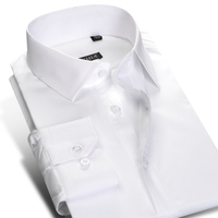 2016 Men White Solid 100 Cotton Long Sleeve Dress Shirt Classic Turn Down Collar Business Casual
