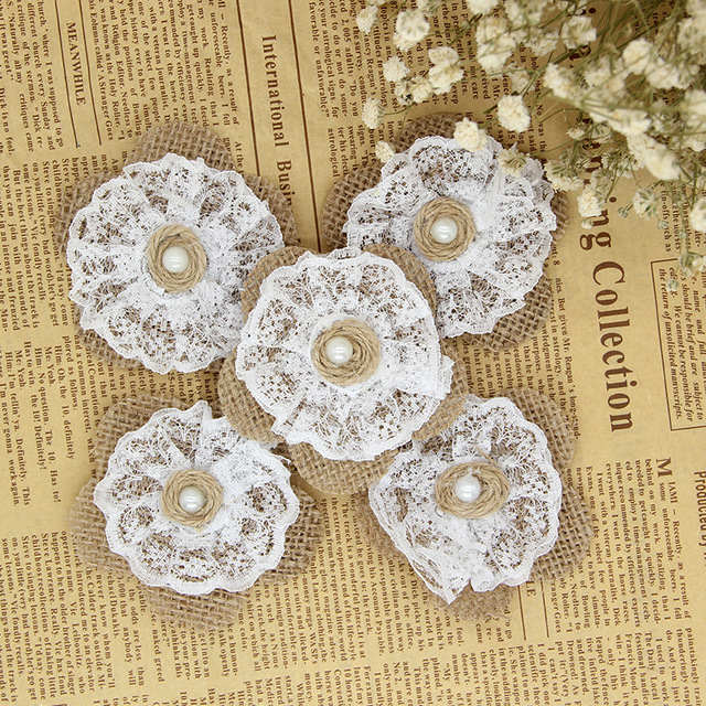 10pcs Natural Rural Jute Burlap Hessian Flower With Lace Pearl Vintage Wedding Decoration Rustic For