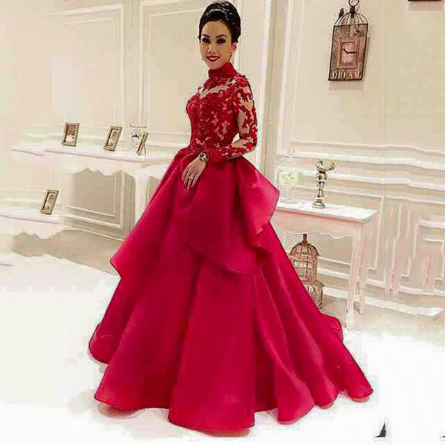 ea74c94185 Bling Long Sleeves Lace Prom Dresses Sheer See Through High Neck Appliques  A Line Puffy Prom Dresses Red Prom Dress Custom Made