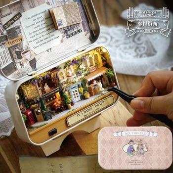 Diy Miniatur Szene Holz Miniatur Theater Spielzeug Led Licht Handgemachte Möbel 3D Puppe Haus Box Kinder Spielzeug Geburtstag Geschenk Jouet