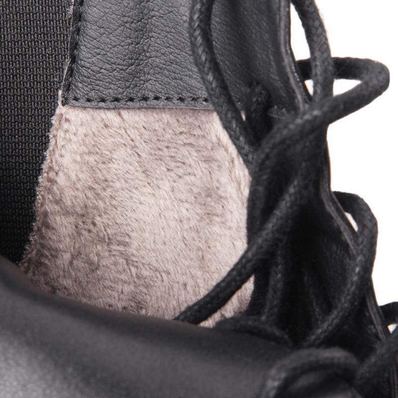 Carzicuzin Noir Wedge Femmes Fourrure Véritable D'hiver La Cheville Taille 39 En De Chaussures black Chaud Sexy Plate Bottes Lacent 34 Cuir forme Y76ybgf