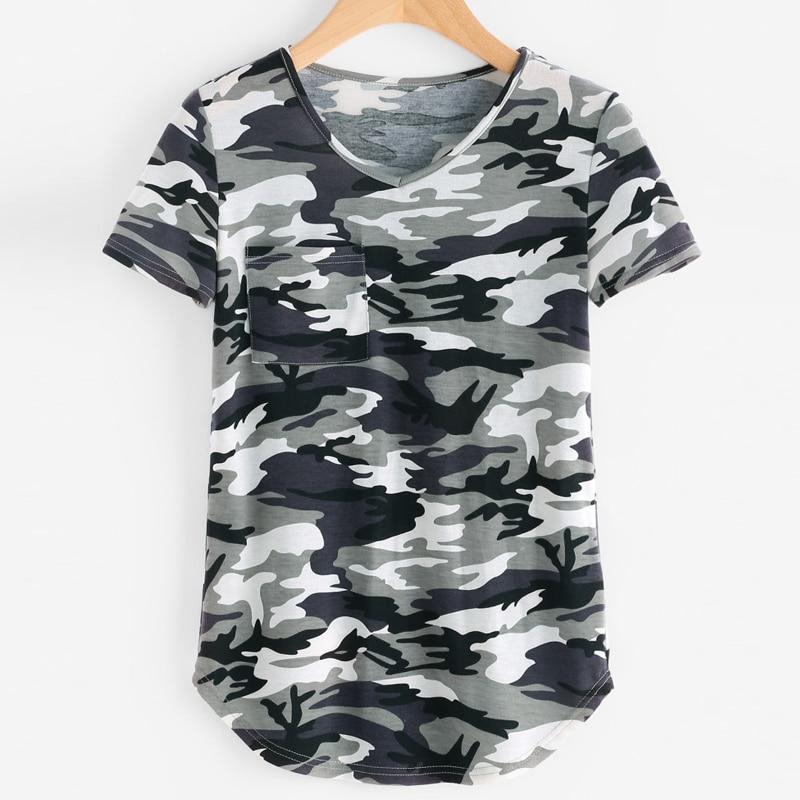 Pocket Front Curved Hem Camo Print Regular Fit T-shirt