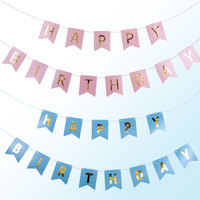 1 Conjunto Kit Banner Feliz Aniversário Decorações Da Festa de Aniversário Dos Miúdos Decorações Do Partido Evento Suprimentos Flor De Papel De Presente