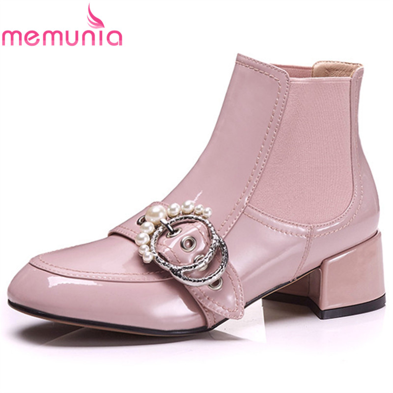 MEMUNIA 2018 pink fashion hot sale ankle boots for women patent leather autumn winter boots buckle popular party shoes woman MEMUNIA 2018 pink fashion hot sale ankle boots for women patent leather autumn winter boots buckle popular party shoes woman