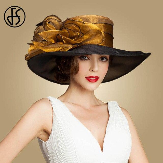 FS Elegant Organza Hats For Women Summer Fedora Large Wide Brim Bonnet Party  Wedding Kentucky Derby 5d6339bff812
