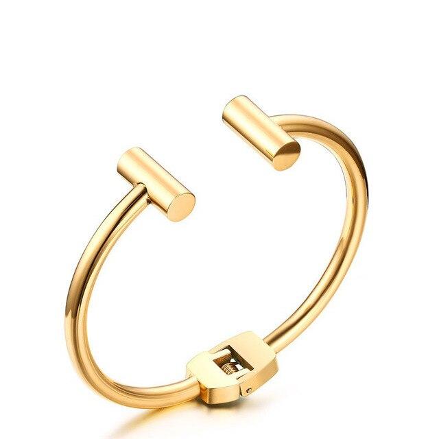 2016 Women's T Wire Cuff Bracelet  Gold Plated Double Bar Skinny Open Cuff Narrow Bracelets&Bangles Women Jewelry