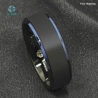 8mm Tungsten Carbide Ring Black Brushed Blue Stripe Wedding Band Men S Jewelry Free Shipping