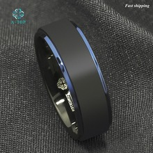 8mm Tungsten Carbide Ring Black Brushed Blue Stripe Men's Wedding Band Jewelry Free Shipping
