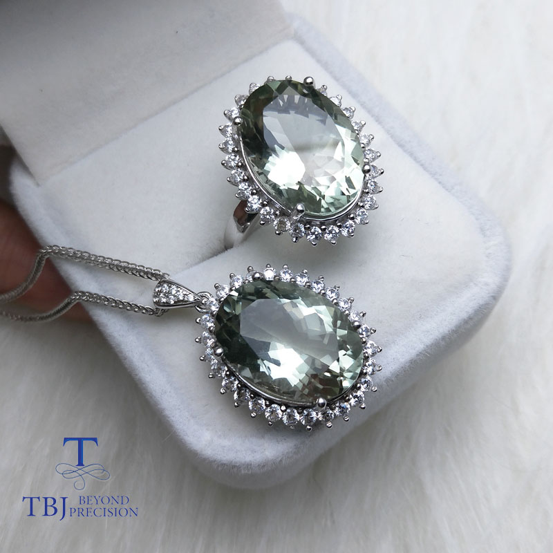 TBJ Diana s Jewelry set pendant and Ring with natural green amethyst quartz 22ct gemstone for