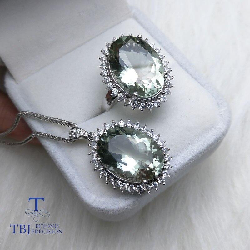 TBJ, Diana's ensemble de bijoux pendentif et bague avec naturel vert améthyste quartz 22ct pierre précieuse pour les femmes en argent 925 avec boîte-cadeau