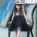 Children 's dress 2017 spring new girls Korean fashion waist pearl network yarn dress embroidered dress