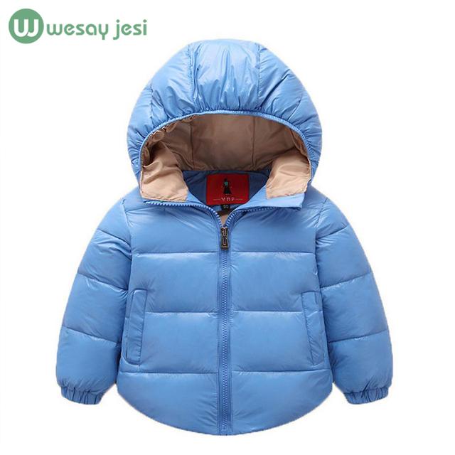 Casacos de inverno das crianças 2016 meninos meninas pato para baixo moda casaco com capuz de espessura sólida casaco quente jaqueta de inverno bebê outwear 2-6 T