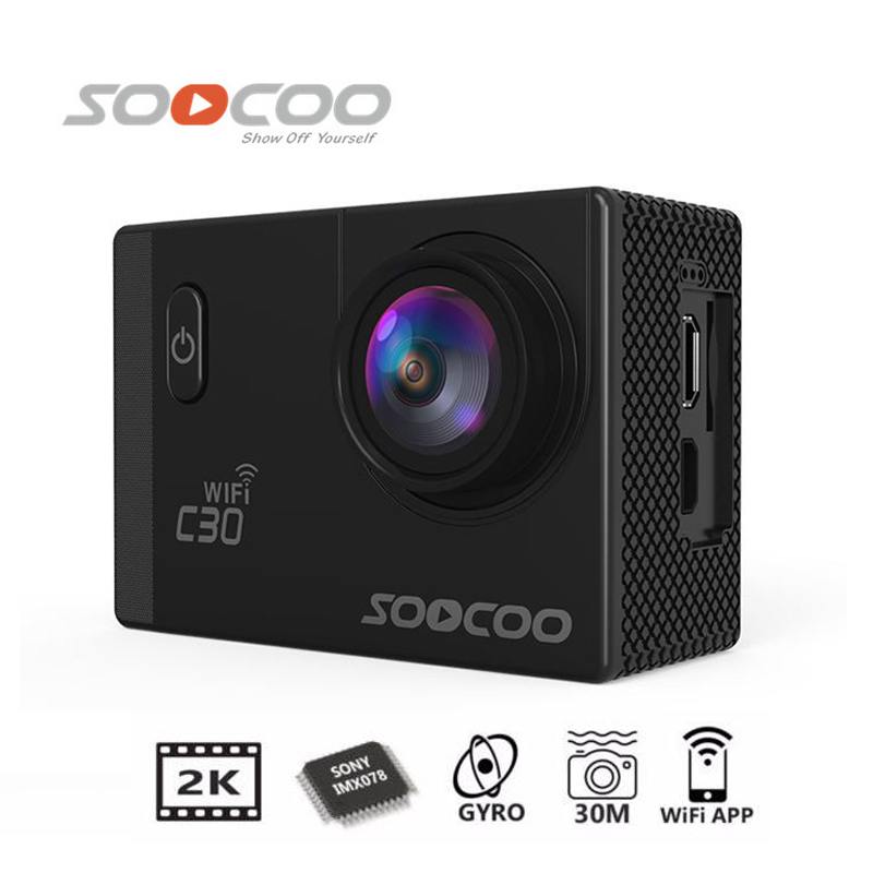 Free Shipping!!Original SOOCOO C30 Wifi Ultra HD 2K 2.0 Screen 170 Angle Adjustable Waterproof Outdoor Sports Action Camera free shipping 16gb soocoo c30 wifi ultra hd 2k 30fps full hd 1080p mini sports camera extra 1pcs battery car charger holder