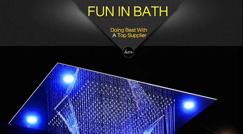 Luxury Led Rain Shower Head Large Rain LED Shower Set with Waterfall Shower Head with Embedded Ceiling 600x800 Rainfall Spout (12)