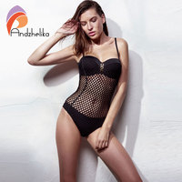 Andzhelika One Piece 2017 Swimsuit Women Sexy Mesh Swimwear Hollow Out Bodysuit Brazilian Bathing Suit Swim