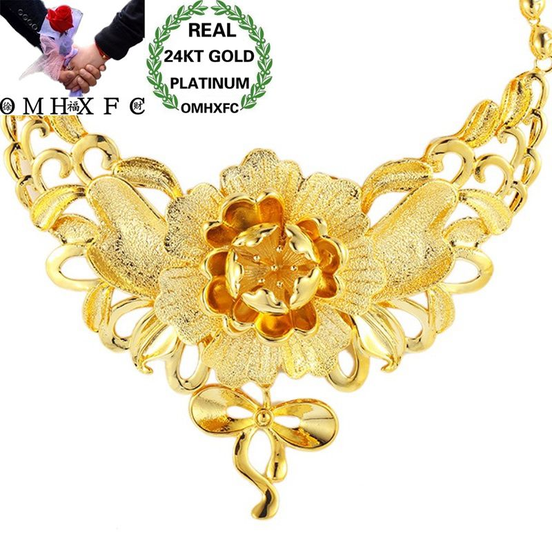 OMHXFC Wholesale European Fashion Woman Girl Bride Party Birthday Wedding Luxury Vintage Flower 24KT Gold Pendant Necklace EX141OMHXFC Wholesale European Fashion Woman Girl Bride Party Birthday Wedding Luxury Vintage Flower 24KT Gold Pendant Necklace EX141