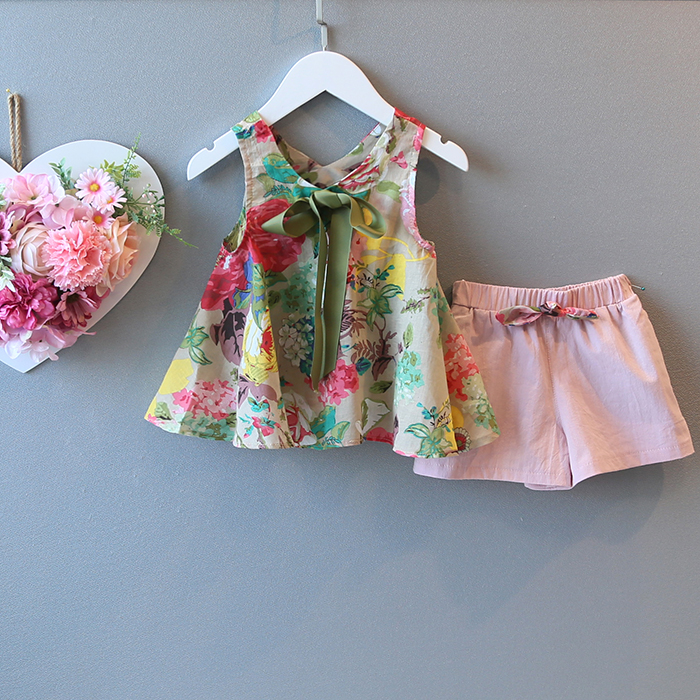 2018 летняя детская одежда Комплекты для девочек без рукавов с принтом для маленьких девочек комплекты для девочек Детские комплекты жилет + ...