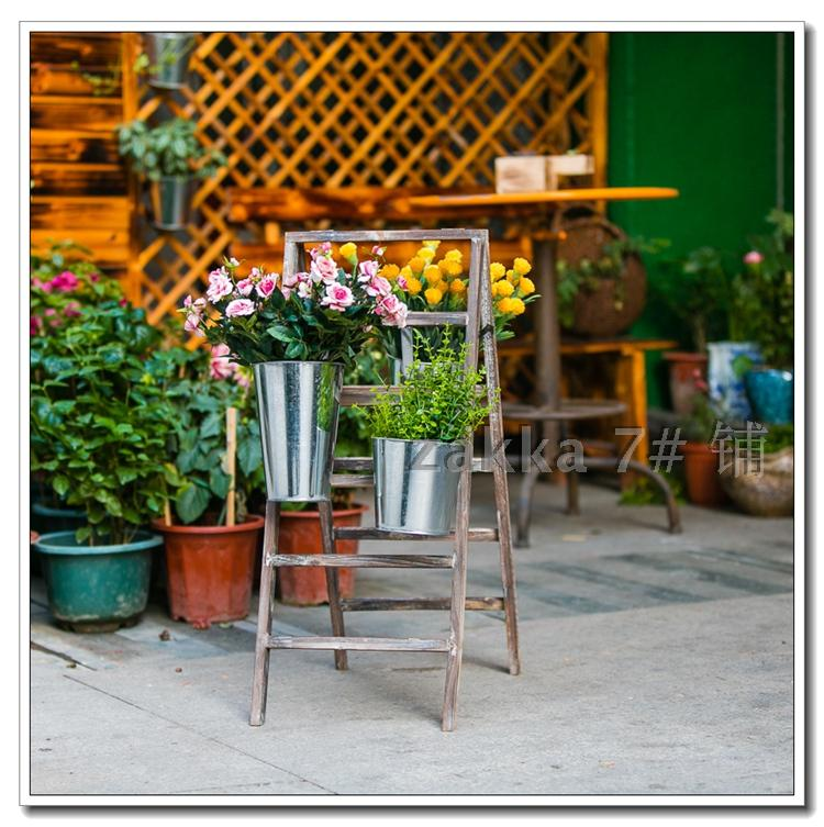 European retro do the old flower frame with tin barrels creative life more outdoor scenes trapezoid Flower Flower