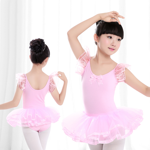 rosa t ll kurzarm ballett tutu kleid kinder m dchen gymnastik gymnastikanzug. Black Bedroom Furniture Sets. Home Design Ideas