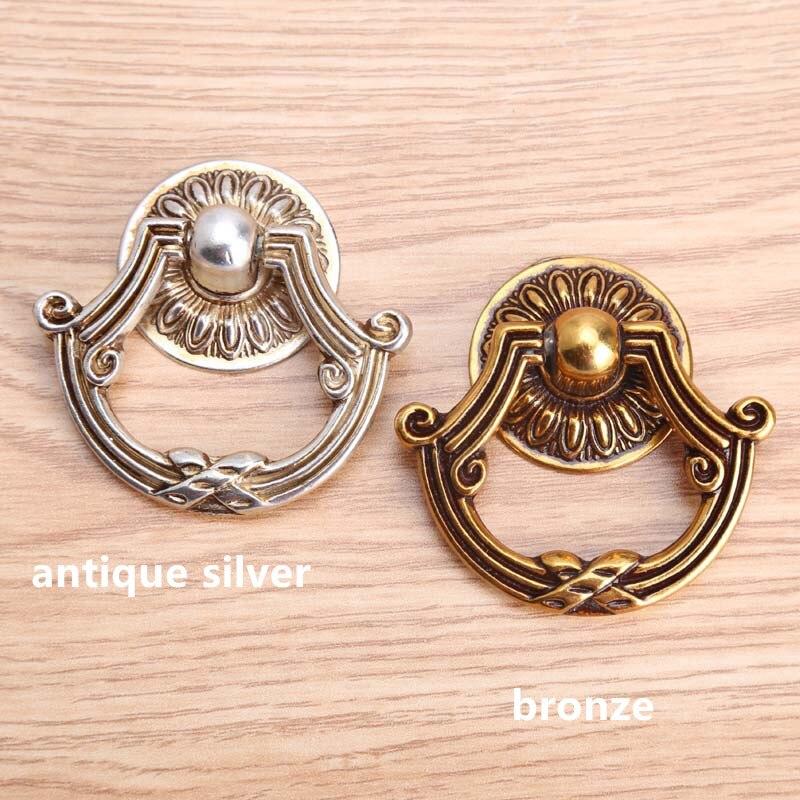 europen bronze drawer cabinet knobs pulls antique silver dresser door handle knob retro style drop rings