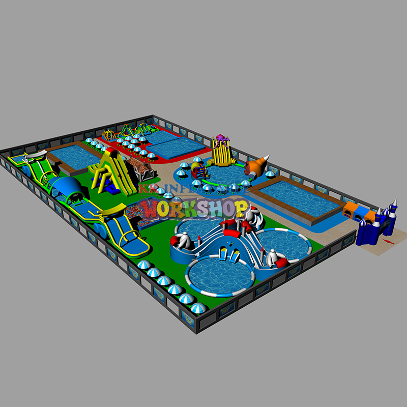 Outdoor Water Park Projects Equipment, Frame Pool Water Park With Inflatable Water Slide On The Land