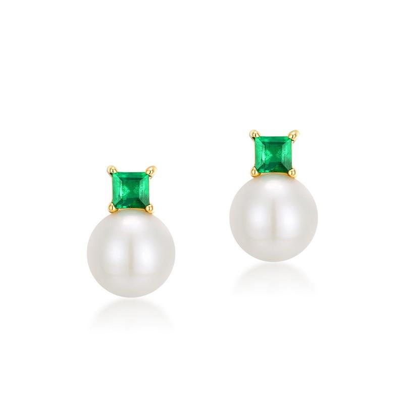 JXXGS 14K Gold Earring Fresh Water Pearl Earrings Square Green Zircon Stud Earrings For Women