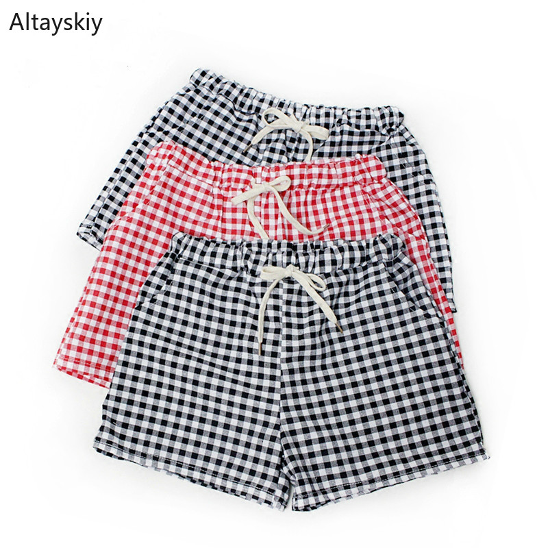 Shorts Women Soft Plaid Trendy Elegant All-match High-quality Korean Style Leisure Daily Womens Female Lovely Simple 2020 Loose
