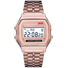LED Digital Waterproof Quartz Wrist Watch Dress Golden Wrist