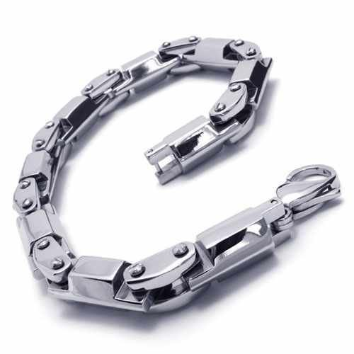 Fashion Jewelry Stainless Steel Bracelet Silver Slippy Quadrate Cylinder Links Chains Men Cuff Bracelets 18055