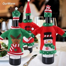 OurWarm 3pcs Wine Cover Christmas Decoration for Home Santa Claus Snowman Reindeer Cloth Table New Year Product
