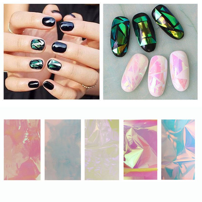 5pcs/lot  Holographic Shiny Laser Nail Art Foils Paper Candy Colors Glitter Glass Nail Sticker Decorations
