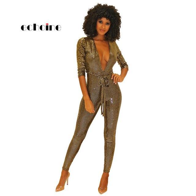 19ab8ea9f7d82 Echoine Sexy Jumpsuits Women Bandage Slim Long Sleeve V-Neck Bright  Bronzing Fabric Night Club Long Pencil Pants Womens Rompers