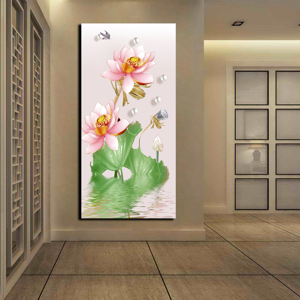 HD Print Chinese Lotus Flower Pictures Large Wall Art Home