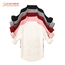 Dosoma sweater for girls autumn & winter turtleneck for girls stripes long sleeves waist candy color baby girl pullover sweaters