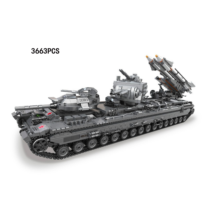 Hot Modern world wars KV-2 military missile tanks moc building block model bricks toys collection for boys gifts hot modern military china aircraft liangning varyag carrier moc building block 1 525 scale model 1355pcs bricks toys collection