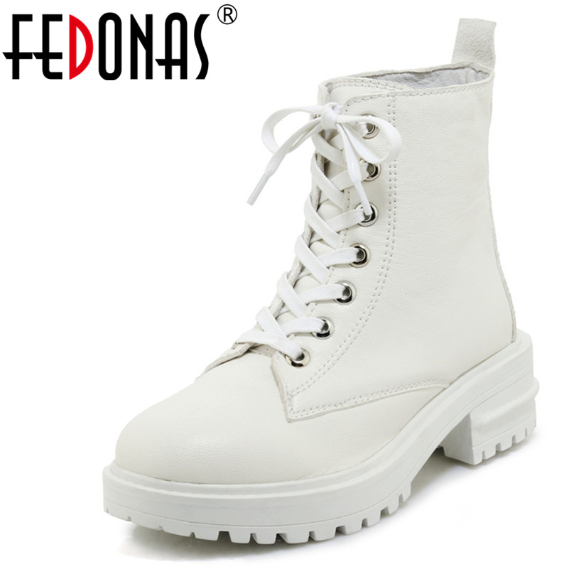 FEDONAS 1New Women Ankle Boots Autumn Winter Warm Genuine Leather High Heels Shoes Woman Round Toe Cross-tied Motorcycle Boots недорго, оригинальная цена
