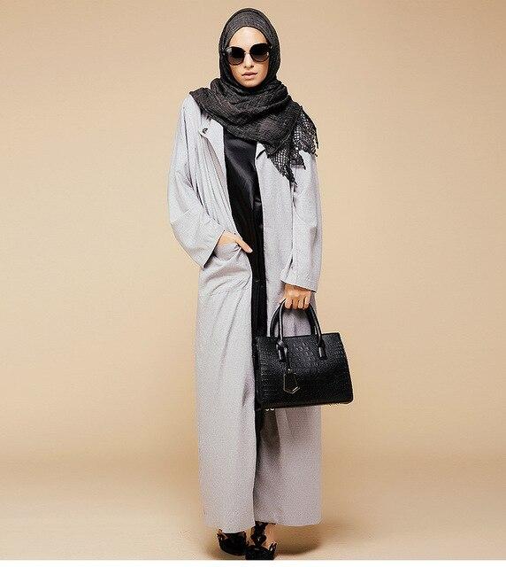 2016 Мусульманин Белье кардиган djellaba турецких женщин одежда серый длинное пальто дубай мода высокое качество кардиган пиджаки