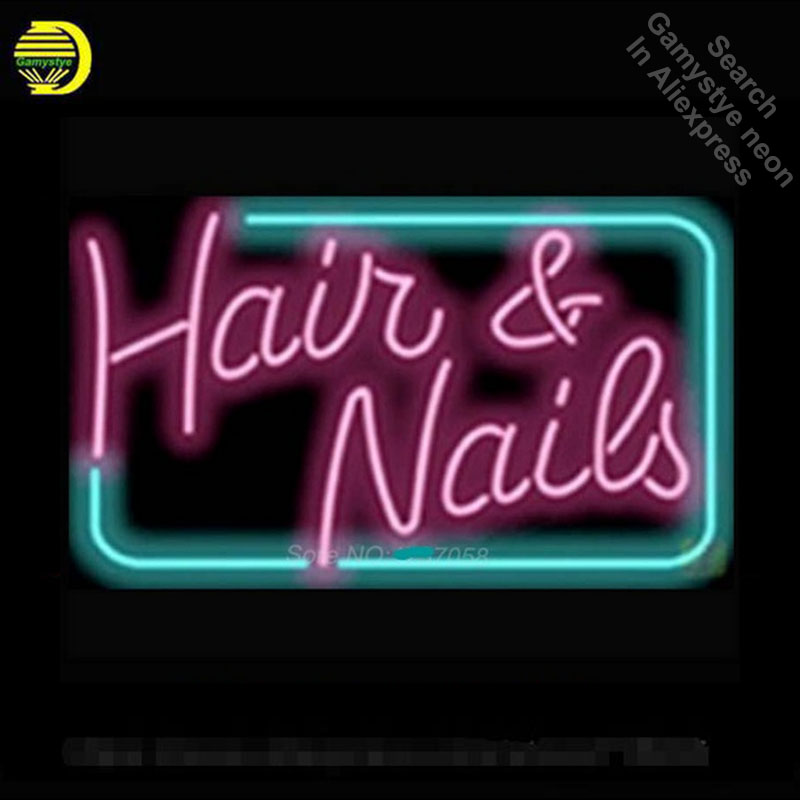 New Hair and Nails Neon Bulbs Neon Signs For Bar Real Glass Neon Handcrafted Professional Pub Bar Signs Neon Light Art 17x14New Hair and Nails Neon Bulbs Neon Signs For Bar Real Glass Neon Handcrafted Professional Pub Bar Signs Neon Light Art 17x14