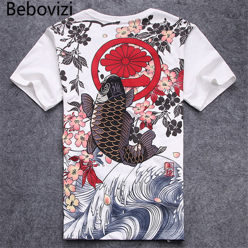 Bebovizi Brand Vintage Japan Street Style Back Koi Embroidery Tops Tees Clothes 2018 Tshirts Fashion Black   T  -  shirts   Homme