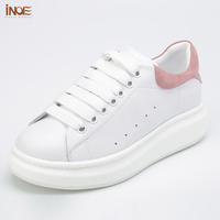 INOE 2017 New Fashion Real Genuine Cow Leather Women Spring Shoes White Summer Flats Rubber Sole