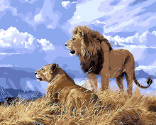 DIY Two Lion Painting By Numbers Modern Animals Digital Wall Art Picture Coloring by numbers For Home Artwork 2017 Gift