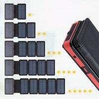 Cep telefonları ve Telekomünikasyon Ürünleri'ten Taşınabil. Güç Kay.'de Açık katlanır katlanabilir su geçirmez GÜNEŞ PANELI şarj taşınabilir Qi kablosuz şarj cihazı LED güneş enerjisi bankası 20000mAh telefonlar için